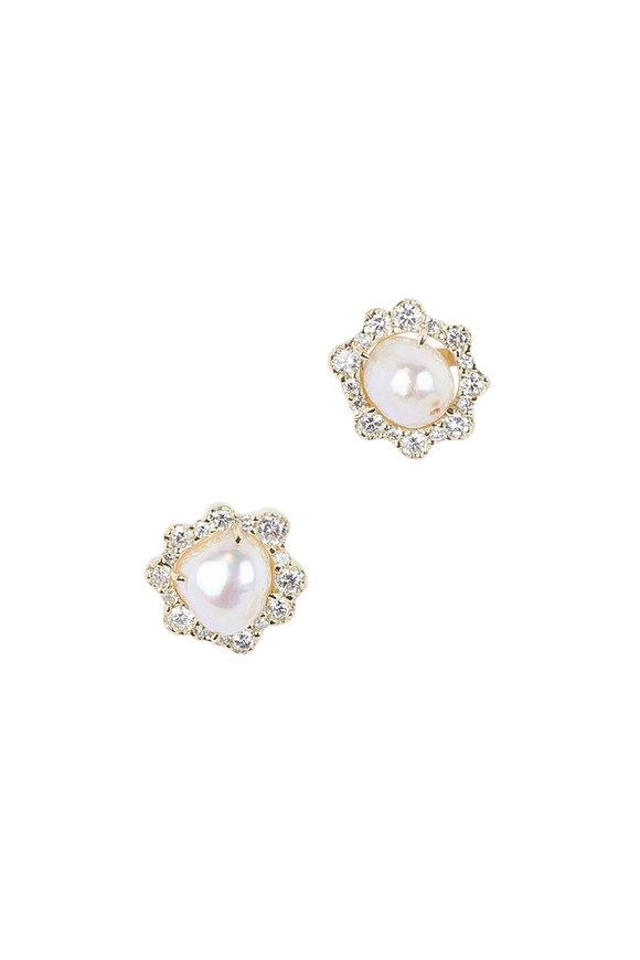 Kimberly McDonald 18K Yellow Gold Pearl & Diamond Studs