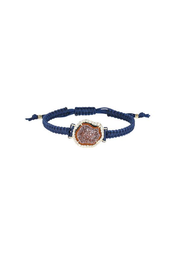 Kimberly McDonald 18K Yellow Gold Red Geode Blue Macrame Bracelet