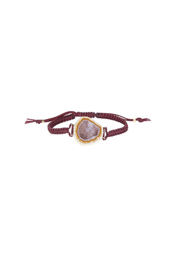 Kimberly McDonald 18K Yellow Gold Geode Brown Macrame Bracelet