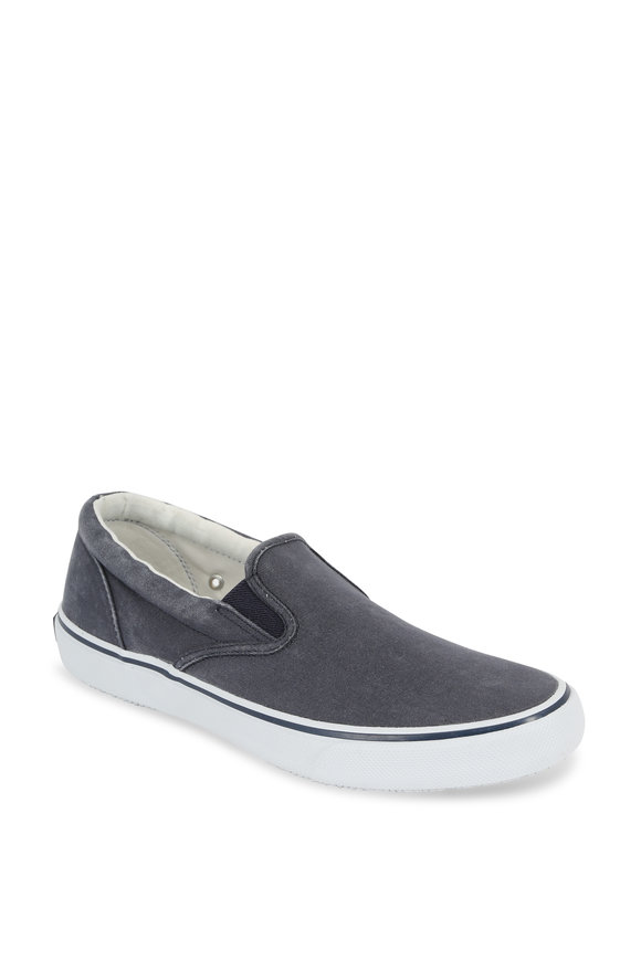 Sperry Striper Salt Washed Navy Canvas Slip-On Sneaker