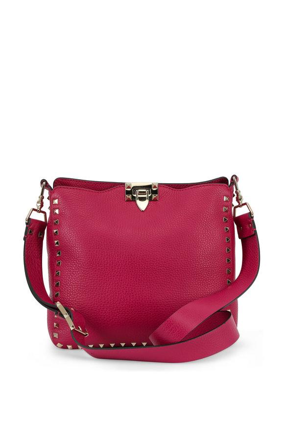 Valentino Rockstud Magenta Leather Small Hobo Bag