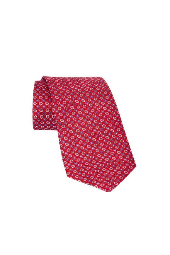Eton Red Floral Print Silk Necktie