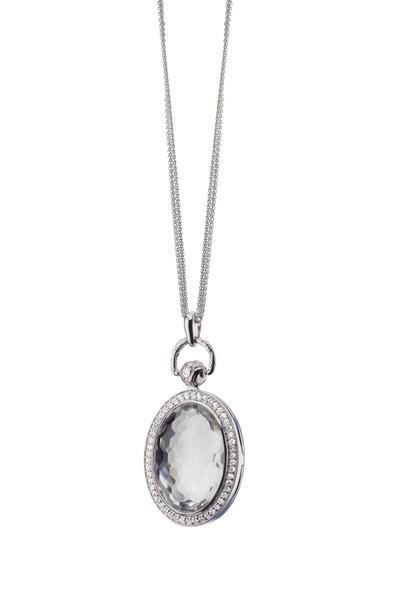 Monica Rich Kosann - Silver Oval Rock Crystal Pocketwatch Necklace