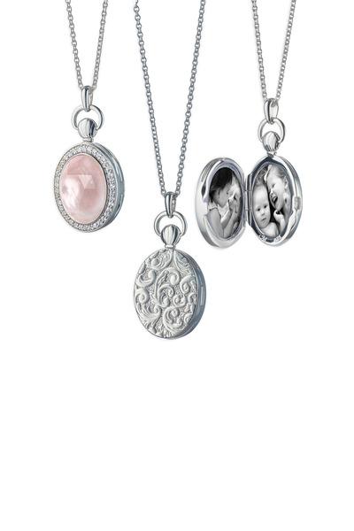 Monica Rich Kosann - Sterling Silver Petite Oval Rose Quartz Necklace