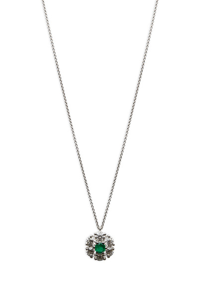 Graff - White Gold Diamond Cluster Emerald Pendant