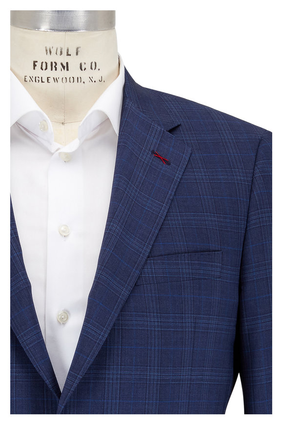 Samuelsohn Bennet Navy Blue Plaid Wool Suit