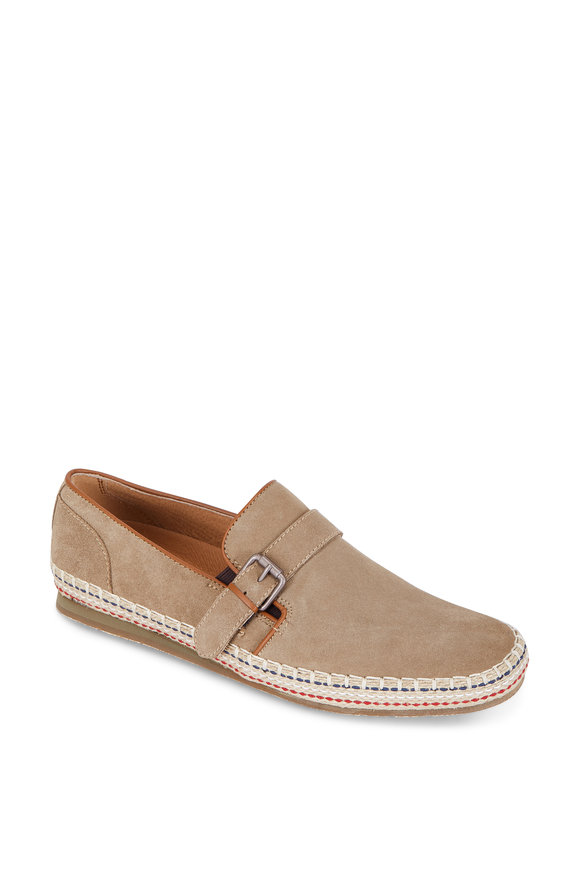 John Varvatos Mick Desert Sand Suede Buckled Slip-On Shoe