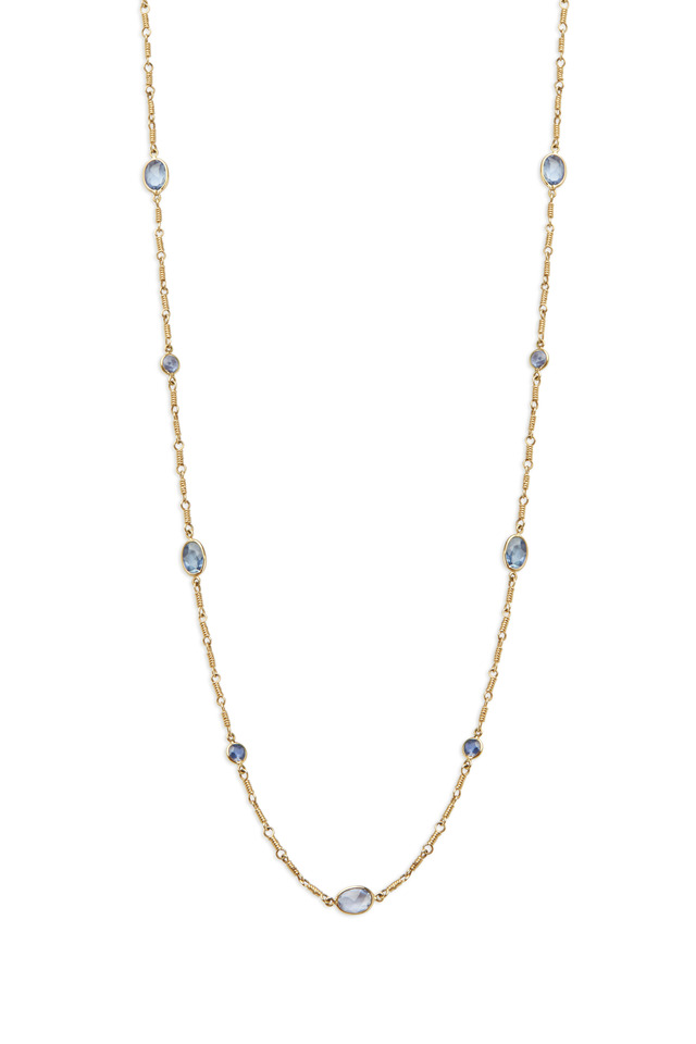 Karina Yellow Gold Blue Sapphire Chain Necklace