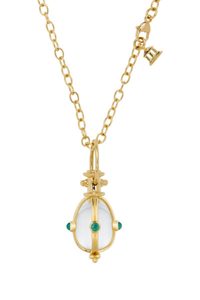 Temple St. Clair - Yellow Gold Rock Crystal Emerald Classic Amulet