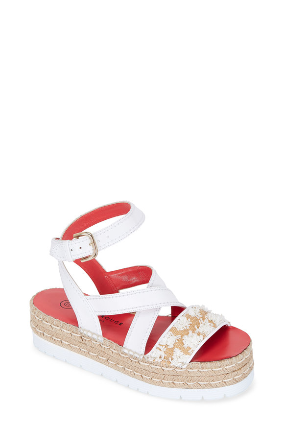 Pas de Rouge Estella White Leather Flatform Sandal, 60mm