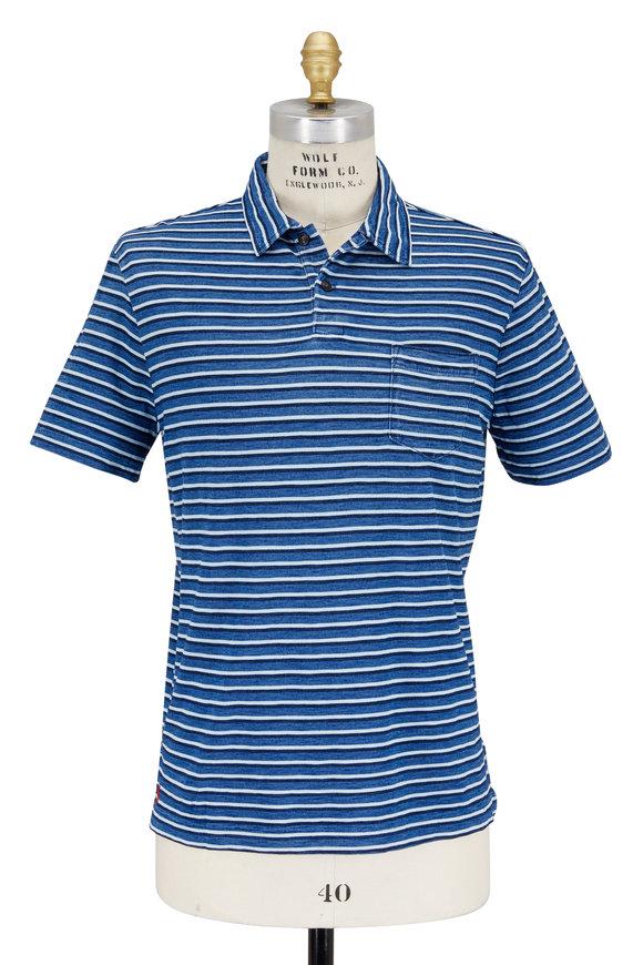 Polo Ralph Lauren Navy Blue Striped Pocket Polo