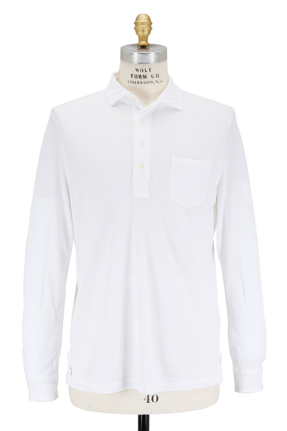 Polo Ralph Lauren White Featherweight Mesh Long Sleeve Polo