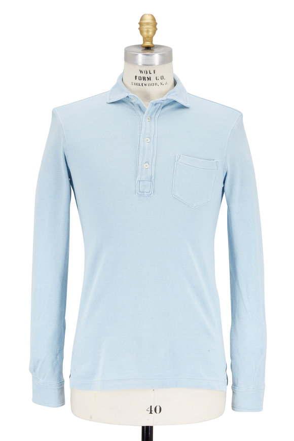 Polo Ralph Lauren Light Blue Featherweight Mesh Long Sleeve Polo