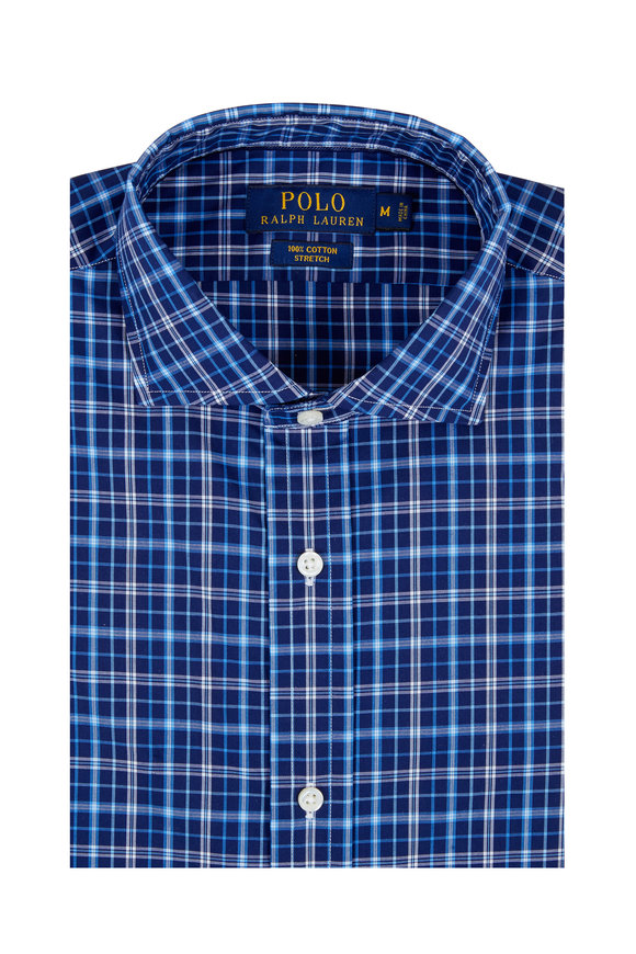 Polo Ralph Lauren Navy Blue Plaid Stretch Cotton Sport Shirt