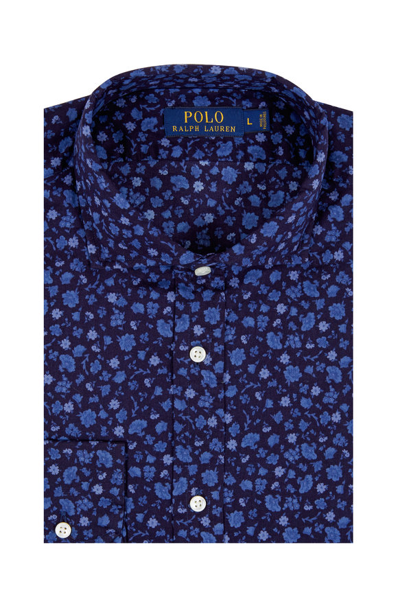 Polo Ralph Lauren Navy Blue Floral Print Cotton Sport Shirt