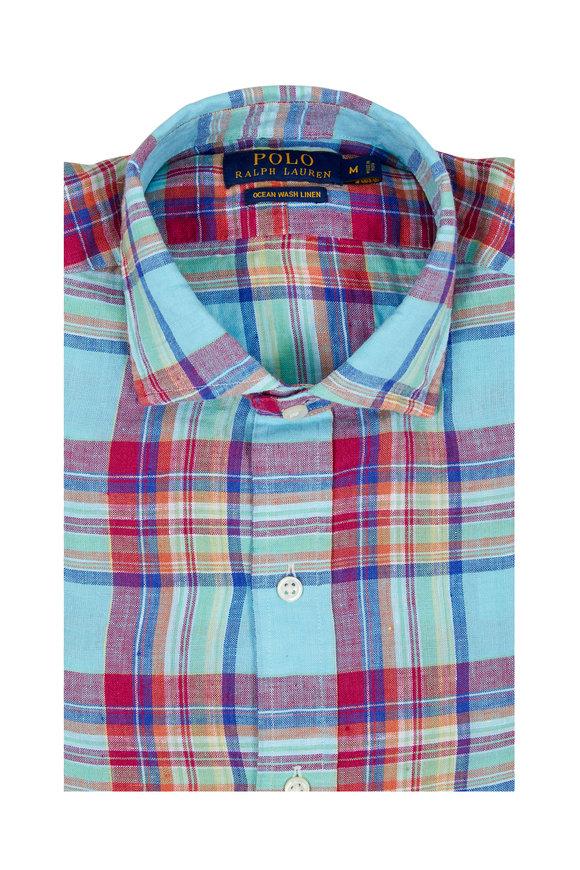 Polo Ralph Lauren Multicolor Plaid Ocean Wash Linen Sport Shirt