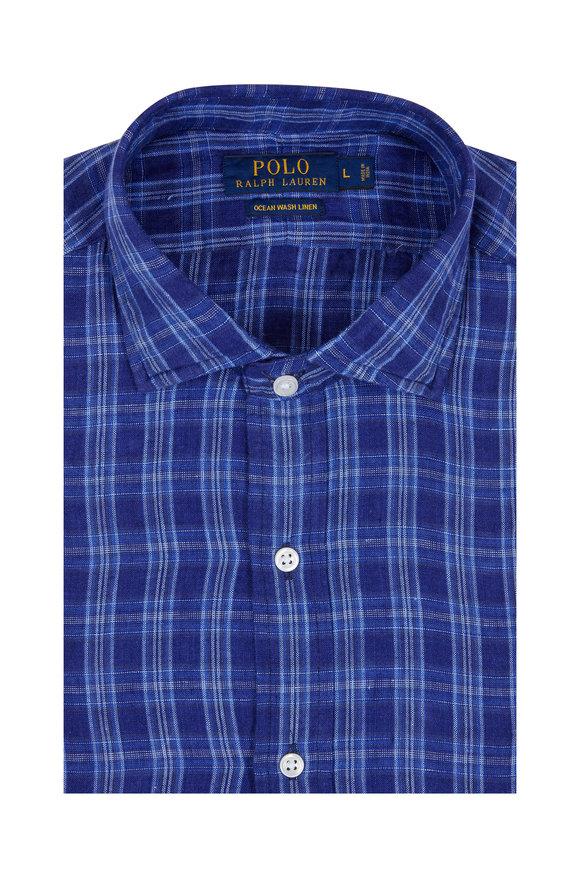 Polo Ralph Lauren Navy Blue Plaid Ocean Wash Linen Sport Shirt