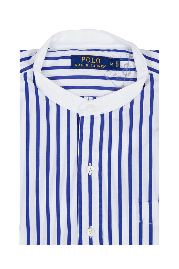 Polo Ralph Lauren White & Blue Striped Cotton Sport Shirt