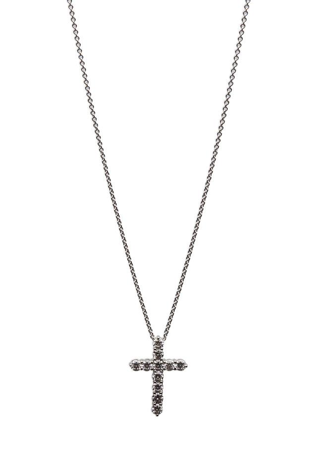 White Gold White Diamond Cross Pendant