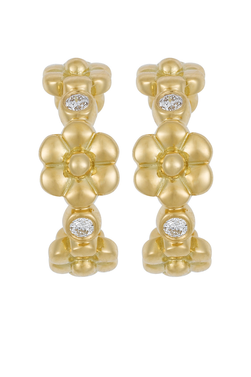 Fiori Gold Diamond Hoop Earrings