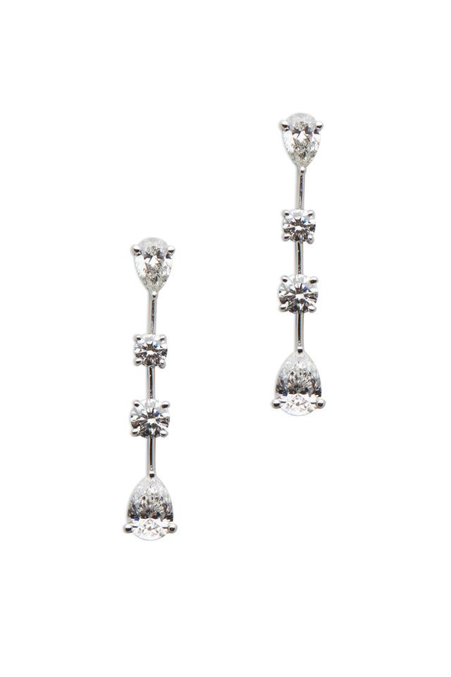 White Diamond Strand Dangle Earrings