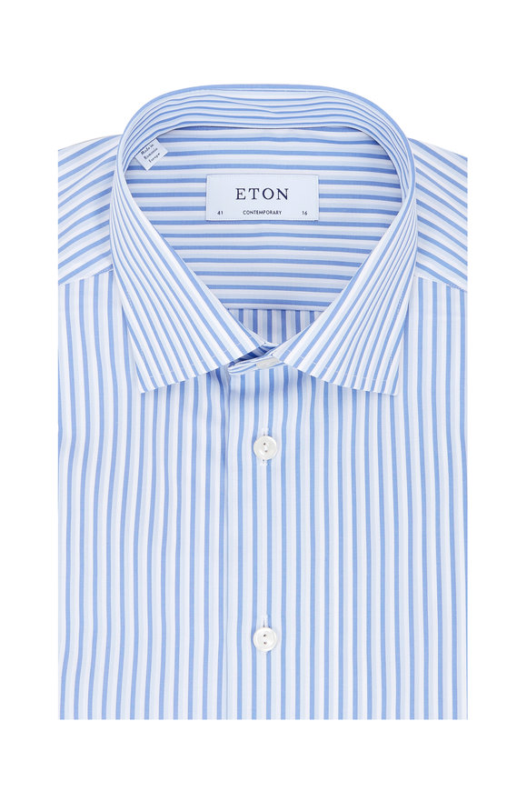 Eton Blue Stripe Contemporary Fit Dress Shirt