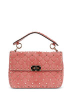 Valentino Garavani - Rockstud Rose Gold Suede Quilted Shoulder Bag