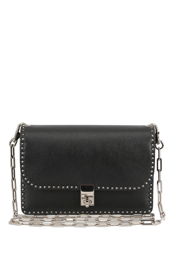 Valentino Rockstud Black Leather Chain Link Small Bag