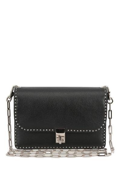 Valentino Garavani - Rockstud Black Leather Chain Link Small Bag