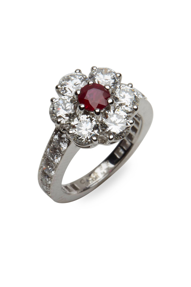 Platinum Ruby & Diamond Flower Ring