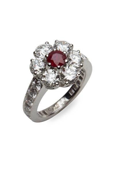Graff - Platinum Ruby & Diamond Flower Ring