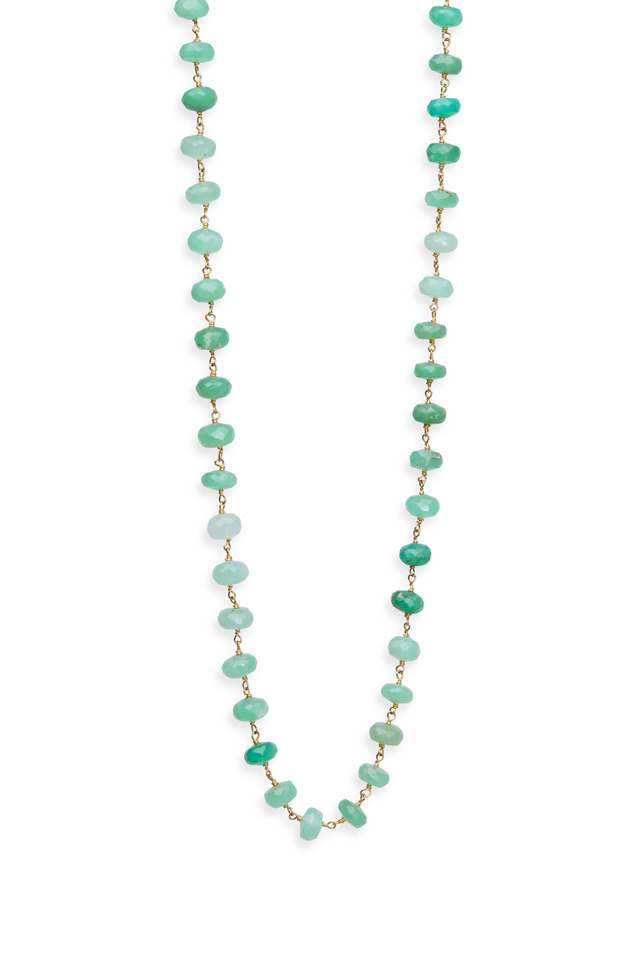 Yellow Gold Chrysoprase Wrap Necklace