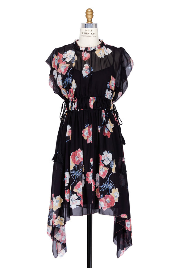 Ulla Johnson Luisa Silk Floral Print Handkerchief Hem Dress
