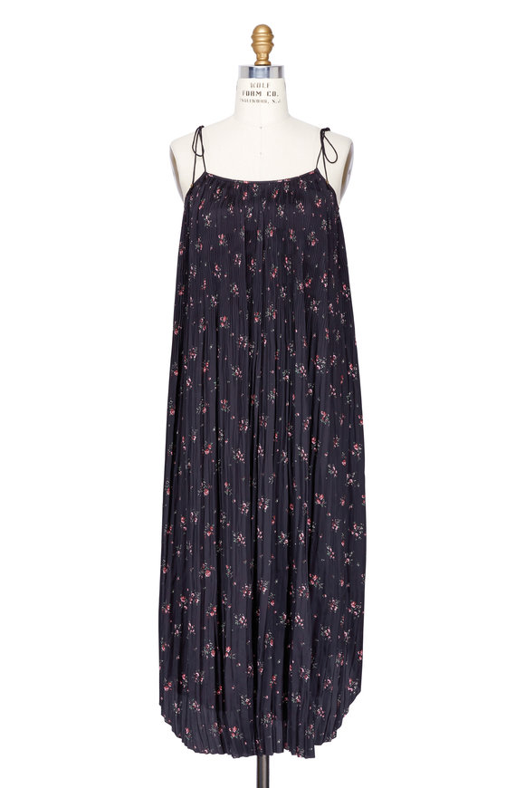 Ulla Johnson Mille Black Floral Print Pleated Maxi Dress