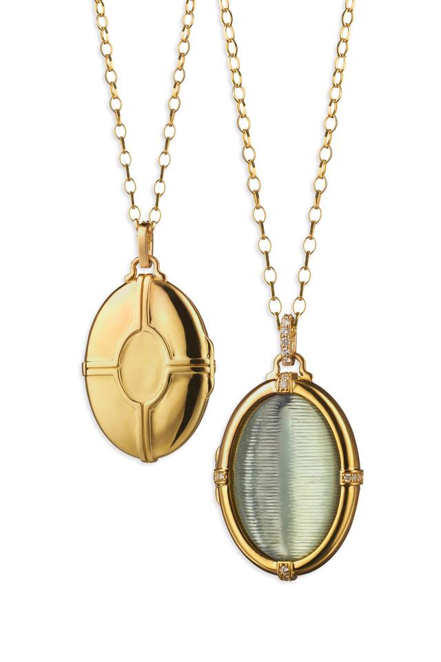 Yellow Gold Prasiolite Cats Eye Necklace