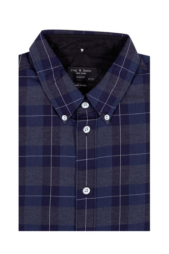 Rag & Bone Tomlin Navy Multi Madras Cotton Flannel Shirt