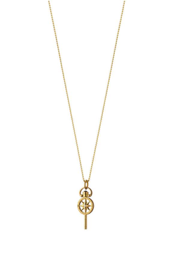 Monica Rich Kosann 18K Gold Compass Pocketwatch Key Charm Necklace