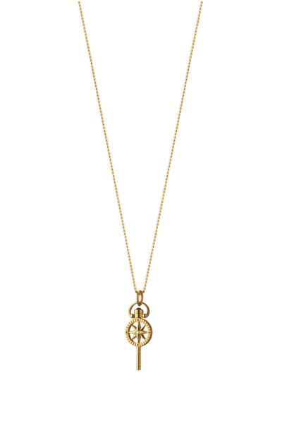 Monica Rich Kosann - 18K Gold Compass Pocketwatch Key Charm Necklace
