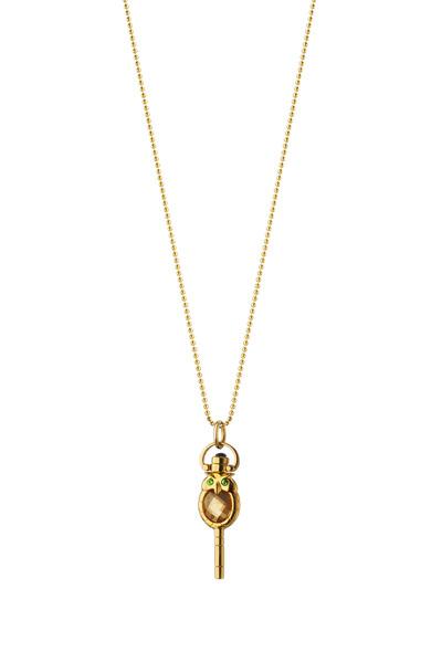 Monica Rich Kosann - 18K Gold Owl Pocketwatch Key Charm Necklace