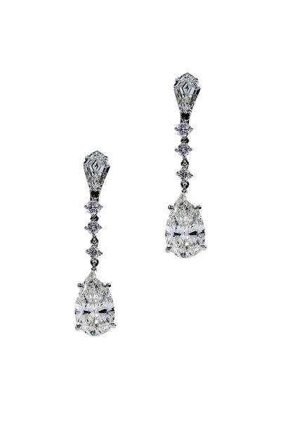 Oscar Heyman - 18k Platinum Diamond Drop Earring