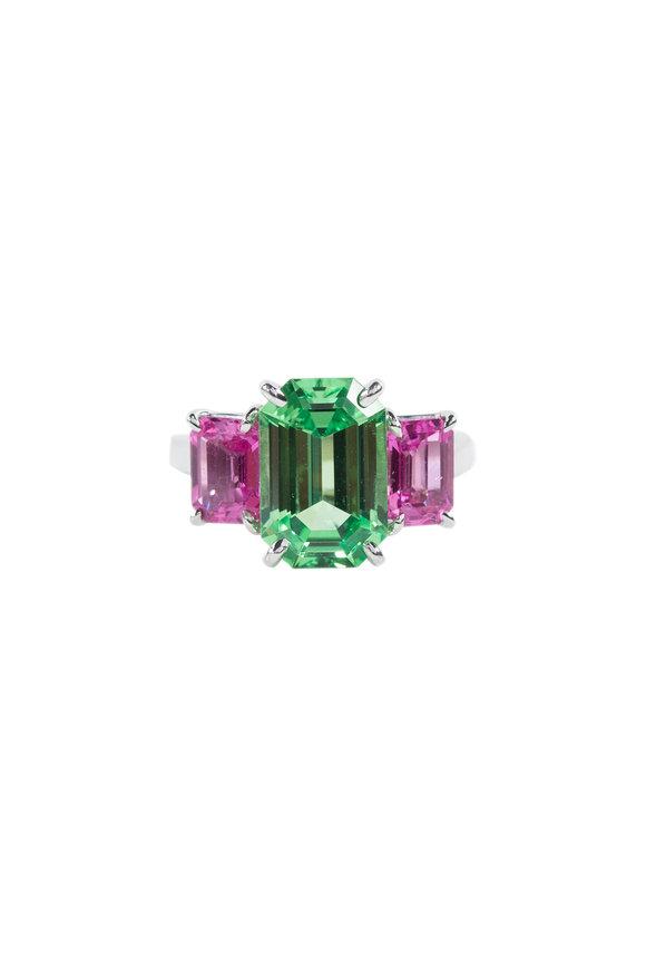 Oscar Heyman Platinum Tsavorite & Pink Sapphire Ring