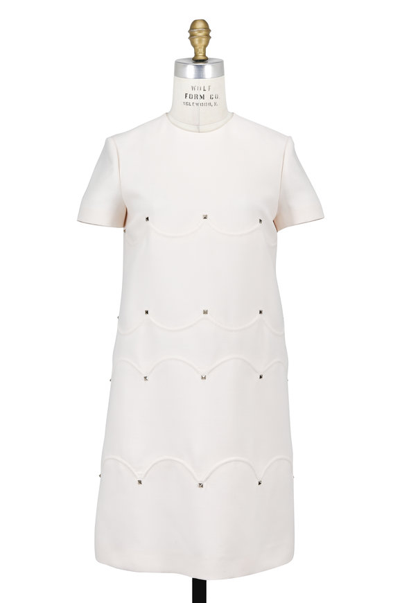 Valentino Ivory Crêpe Couture Short Sleeve Dress
