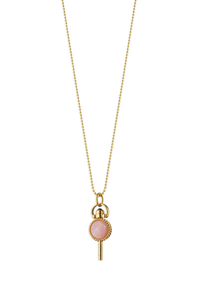 Monica Rich Kosann - 18K Gold Rose Opal Pocketwatch Key Charm Necklace