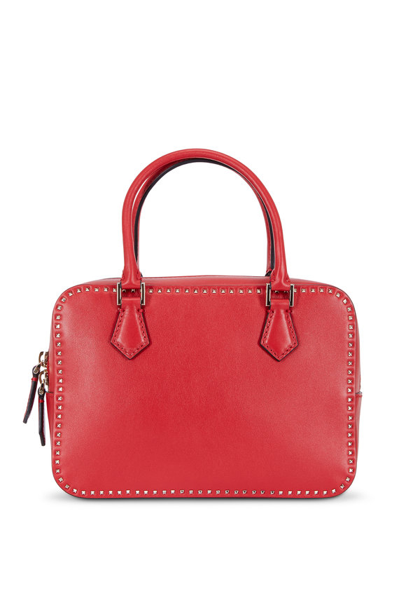 Valentino Rockstud Red Leather Top Handle Satchel