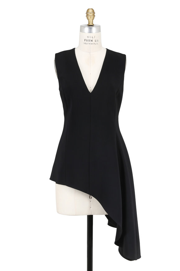 Rosetta Getty Black Asymmetric Side Drape Sleeveless Top