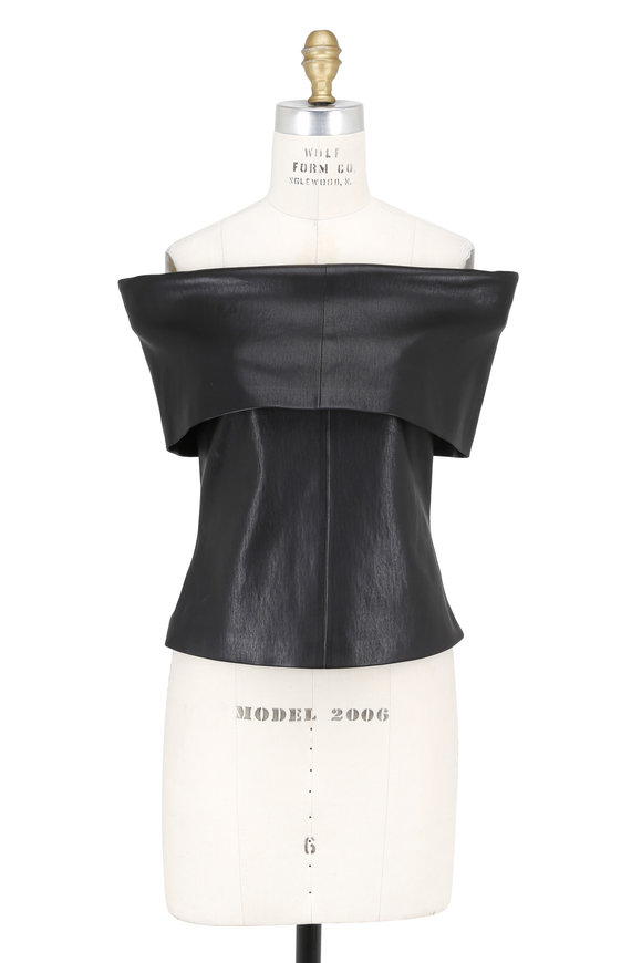 Rosetta Getty Black Leather Off-The-Shoulder Top
