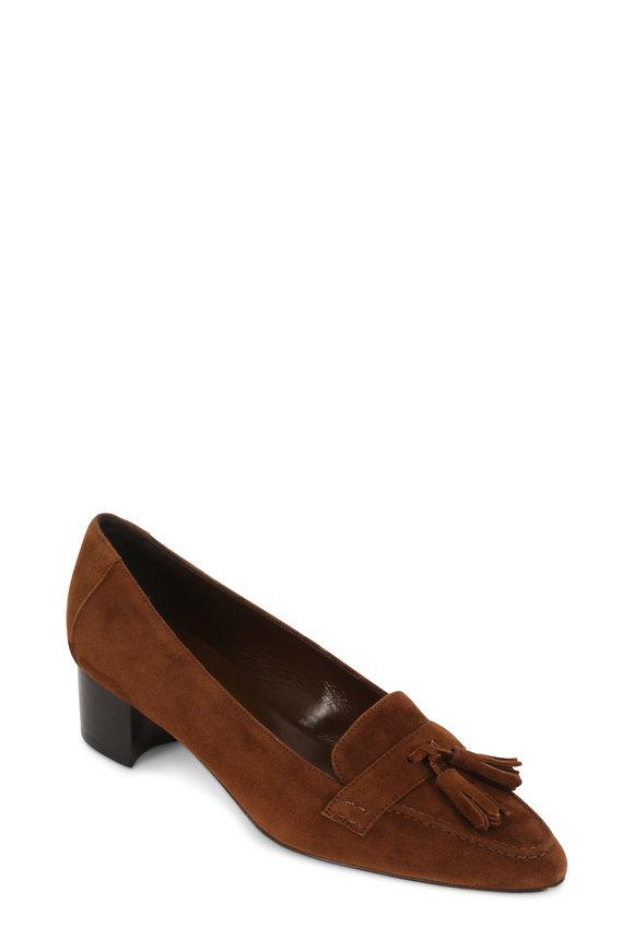 Manolo Blahnik Cognac Suede Block Heel Tassel Loafer, 30mm