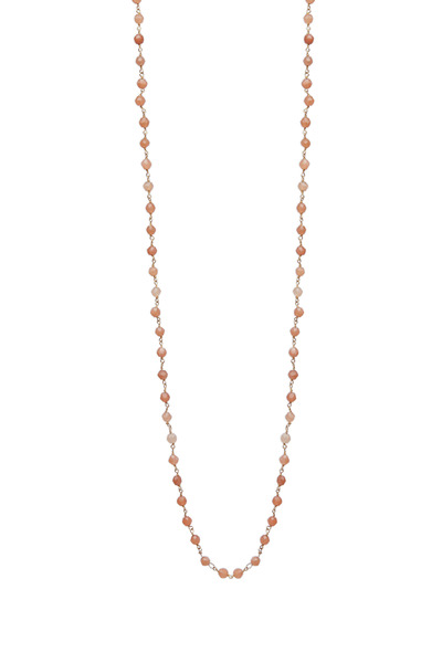 Emily & Ashley - Yellow Gold Peach Moonstone Wire Wrap Necklace
