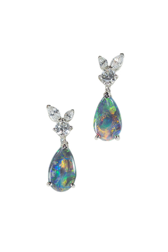 Oscar Heyman Platinum Opal & Diamond Drop Earrings