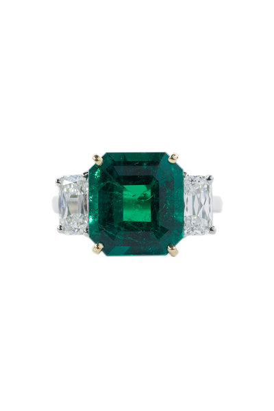 Oscar Heyman - Platinum & Yellow Gold Emerald & Diamond Ring